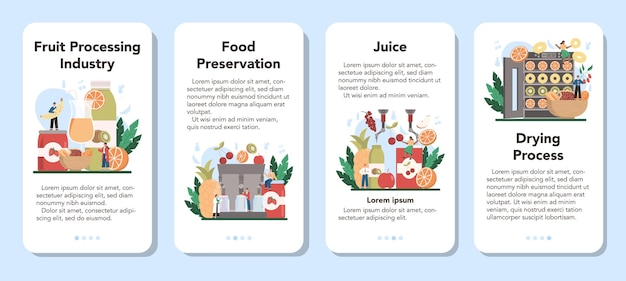 과일 농업 산업 모바일 응용 프로그램 배너 세트.