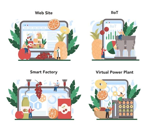 Fruit farming industry online service or platform set.