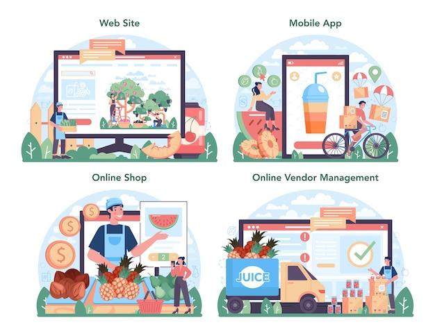 Fruit farming and processing industry online service or platform set