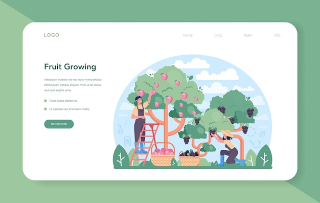 Fruit farming and processing industry web banner or landing page