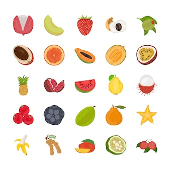 Fruit flat icon pack