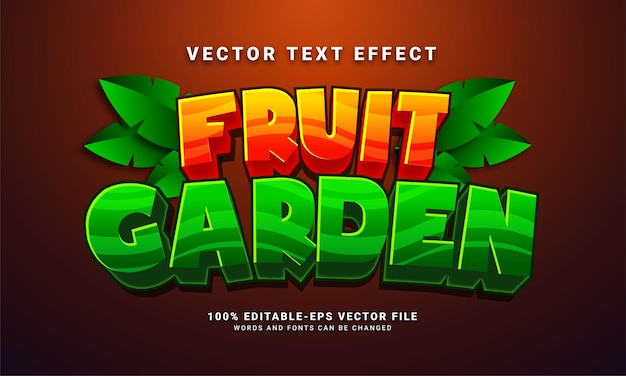 Fruit garden editable text style effect themed natural fruit park