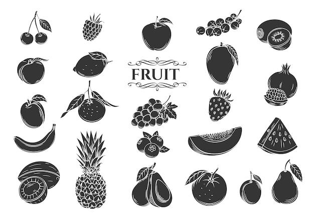 Набор иконок глиф фруктов. декоративная коллекция в стиле ретро, изолированные фрукты и ягоды для магазина