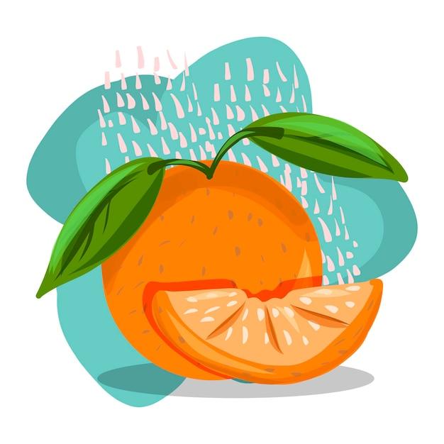 Фрукты. рисование руки. апельсин