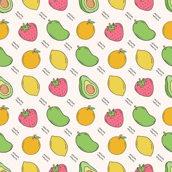 果物の手描きのシームレスなパターン
