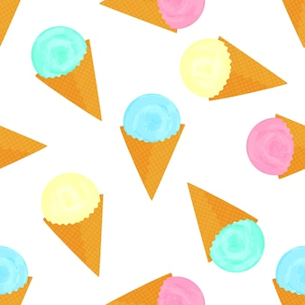 Fruit ice cream balls in a waffle cone seamless pattern.