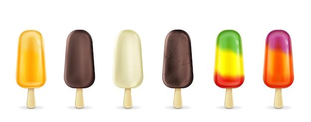 Set di ghiaccioli fruttati su stecco per gelato alla frutta