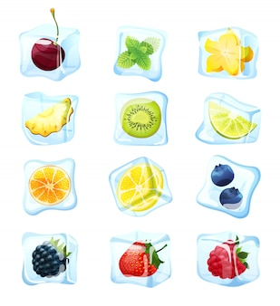 エキゾチックな夏のカクテル、イラストの白、冷凍ベリーに設定されたフルーツアイスキューブ