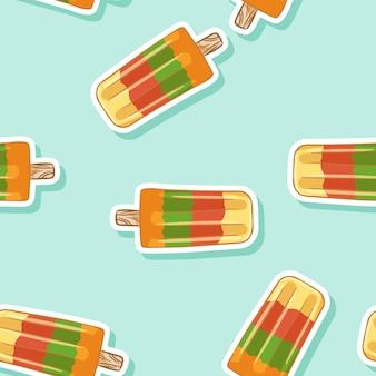 Fruit ice popsicle lollipop ice cream seamless pattern