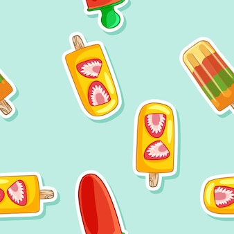 Fruit ice popsicle lollipop ice cream seamless pattern