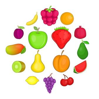 Fruit icon set, cartoon style