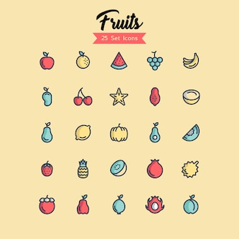 Fruit icon set filled outline styles