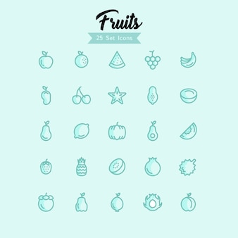 Fruit icons modern style