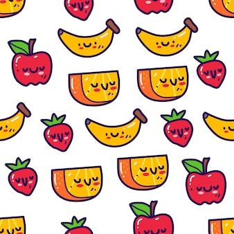 落書きスタイルのシームレスパターンのフルーツ