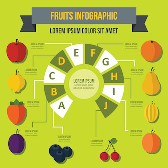 Fruit infographic template, flat style