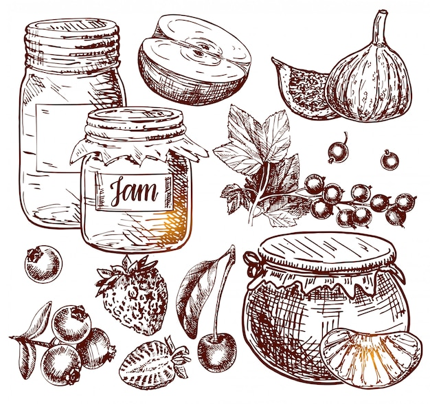 Fruit jam glass jar vector drawing. jelly and marmalade with strawberry, cherry, blueberry, apple, figs and orange