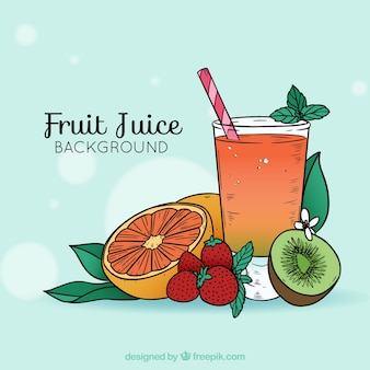 Fruit juice background in hand-drawn style