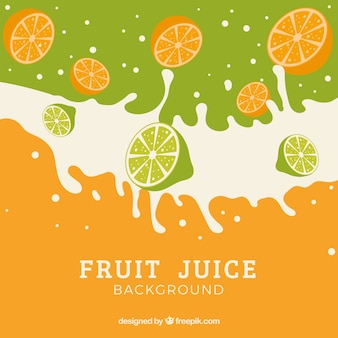 Fruit juice background with splashes