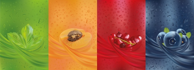 Фруктовый сок, черника, мята, абрикос, ягода красной смородины и листовая мята с брызгами жидкости и капли сока.