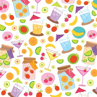 Fruit juice drink cute cartoon gift wrapping design vector