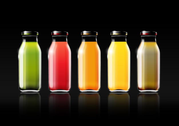 Fruit juice in a glass bottle for design advertisement and vintage logo