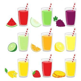 Fruit juice in glass design vector illustration set