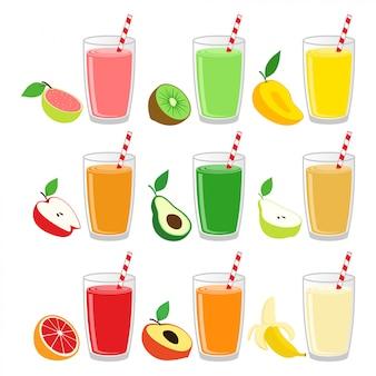 ガラスのデザインのベクトルイラストセットのフルーツジュース Premiumベクター