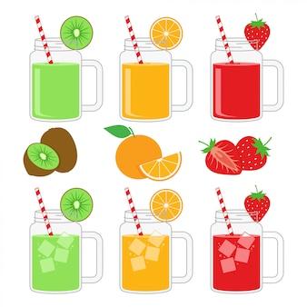Fruit juice in mug jar design vector illustration set