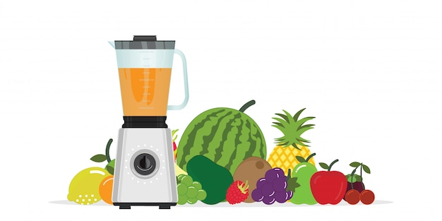 Fruit juice squeezer or blender kitchen appliance with group of fruits.