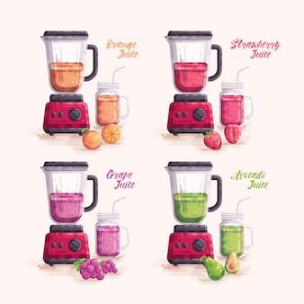 Fruit juice vector set with blender and jar mason mug glass