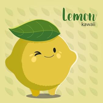 Fruit kawaii cheerful face cartoon cute lemon leaf background vector illustration