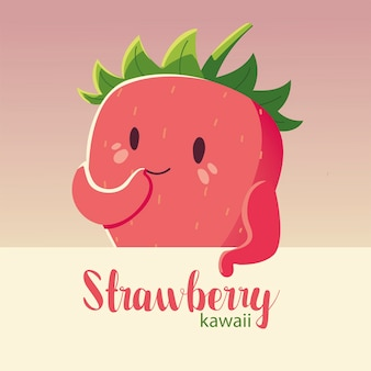 Fruit kawaii cheerful face cartoon cute strawberry and lettering vector illustration