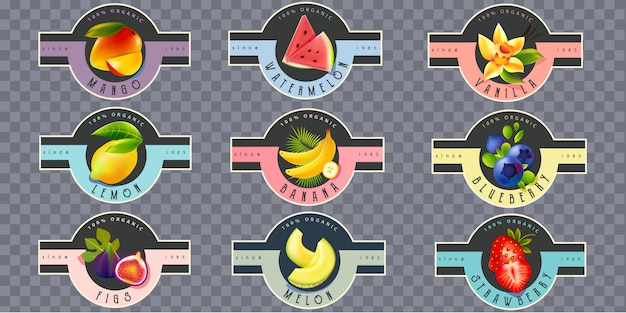 Fruit labels for juice, yogurt, jam