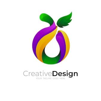 フルーツのロゴとシンプルなデザイン、3dカラフル