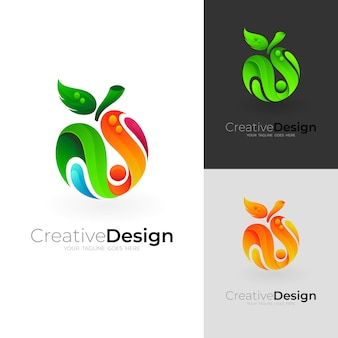 Fruit logo with colorful design template, 3d style icon
