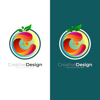 Fruit logo with letter c design colorful, business icon, circle logos