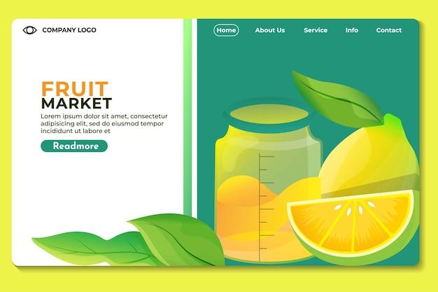 果物市場のウェブサイトウェブサイトまたはアプリのランディングページテンプレートモダンなデザイン