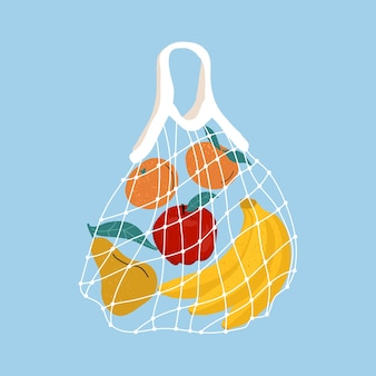 Fruit in a mesh bag. a variety of fresh tropical fruits in a reusable eco bag.   illustration. zero waste concept. home delivery of healthy food. zero waste, plastic free concept.