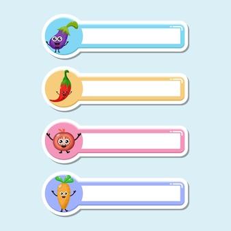 Fruit name tag mascot character logo