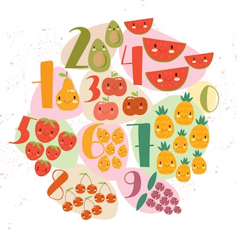 Fruit and numbers design