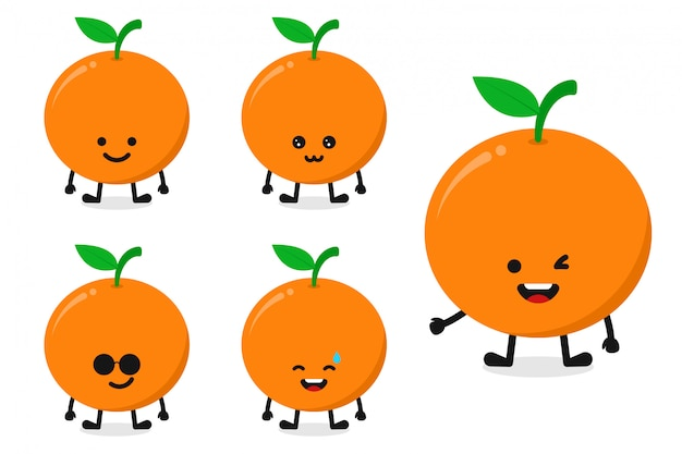 Fruit orange character vector illustration set for happy expression
