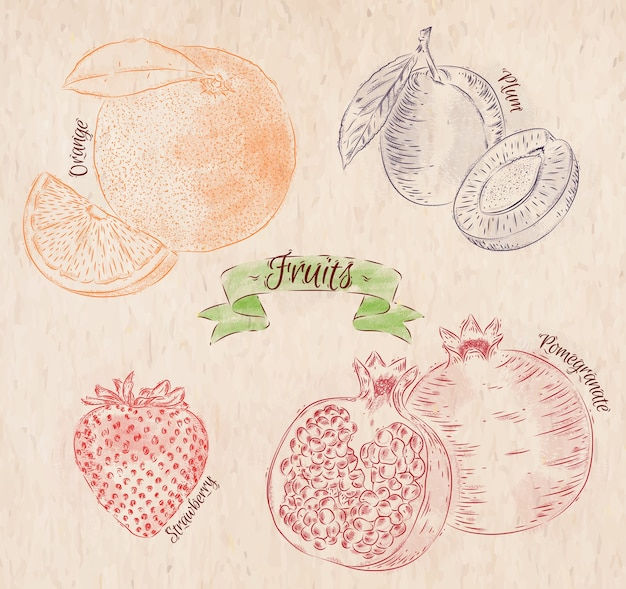 Fruit painted in different colors in a country style orange, plum, strawberry, pomegranate