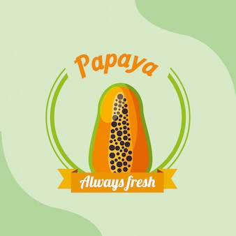 Fruit papaya always fresh emblem