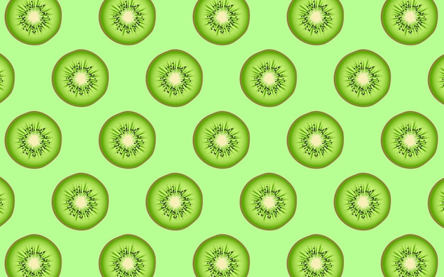 Fruit pattern of fresh kiwi halves. from top view