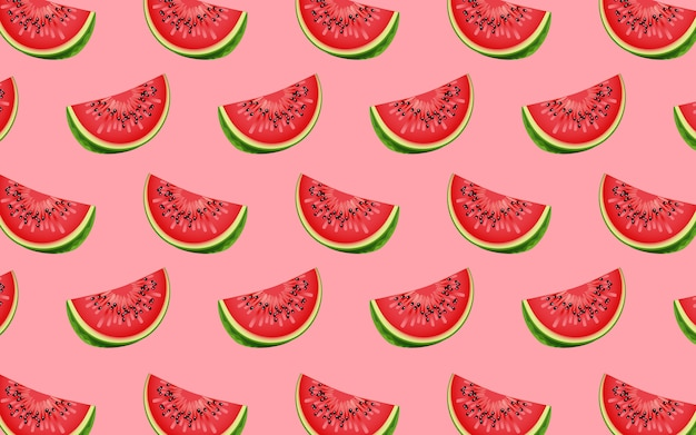 Fruit pattern of fresh watermelon halves. from top view. vector
