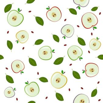 사과, 색 벡터 일러스트 레이 션으로 만든 과일 패턴