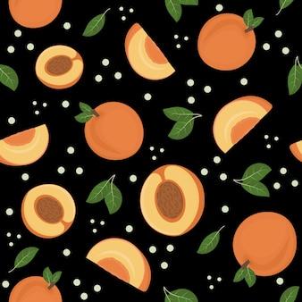 검은 배경, 벡터 일러스트 레이 션에 복숭아의 과일 패턴입니다.