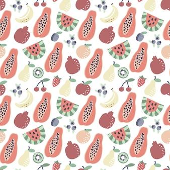 과일 패턴 파파야 바나나 수박 원활한 패턴 여름 열대 인쇄