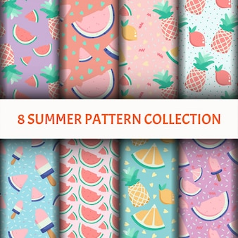Fruit pattern set with ice-cream
