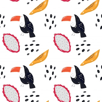 Fruit pattern and toucan